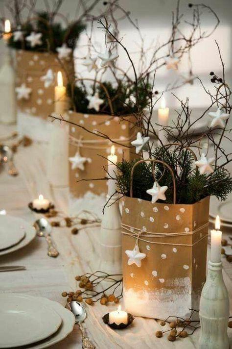 weihnachtsdeko diy ideen tischdekoration tannengruen zweige sterne