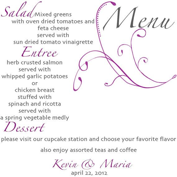 Menu Card... 5x5 printable sign by GoToGirlSignDesigns on Etsy, $12.00
