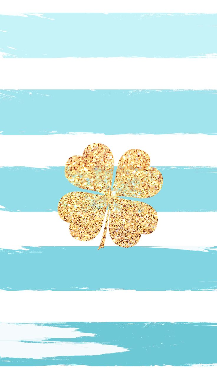 Gold Glitter Four Leaf Clover | Lucky iPhone Wallpaper