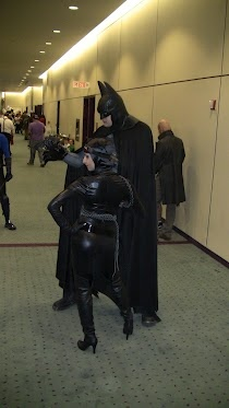 Really tall Batman and Catwoman at Fan Expo 2012.