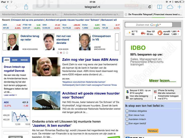 IDBO Training Advertentie in de Financiële Telegraaf voor de komende 4 weken