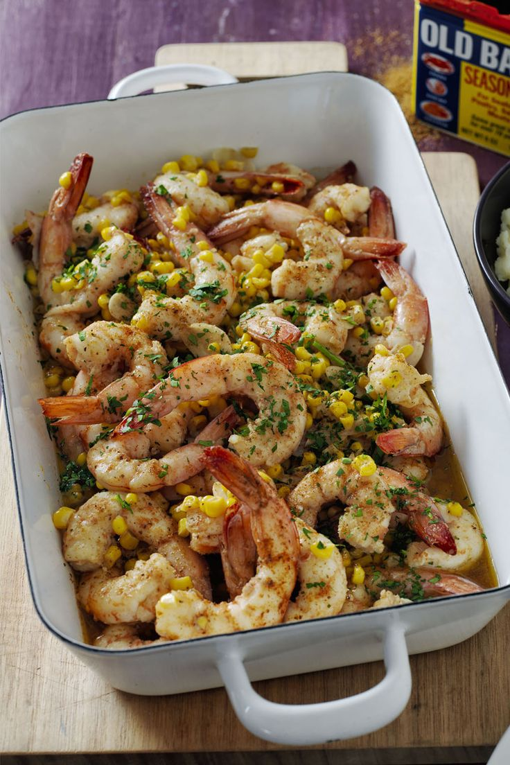 """A dairy-free shrimp scampi recipe, seasoned with Old Bay, and served over tasty """"smashed"""" potatoes? Yep, we know what we're having for dinner tonight."""
