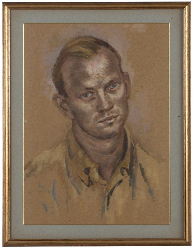 Cecil Beaton (1904-1980 British). Portrait of Kinmont Hoitsma, oil on board under glass, sight size: signed verso: Cecil Beaton. Note: Kinmont Hoitsma was an American fencer who competed in the individual and team epee events at the 1956 Summer Olympics held in Melbourne, Australia. Artist Cecil Beaton was his partner. Provenance: Estate of Kinmont Hoitsma, San Francisco, CA.