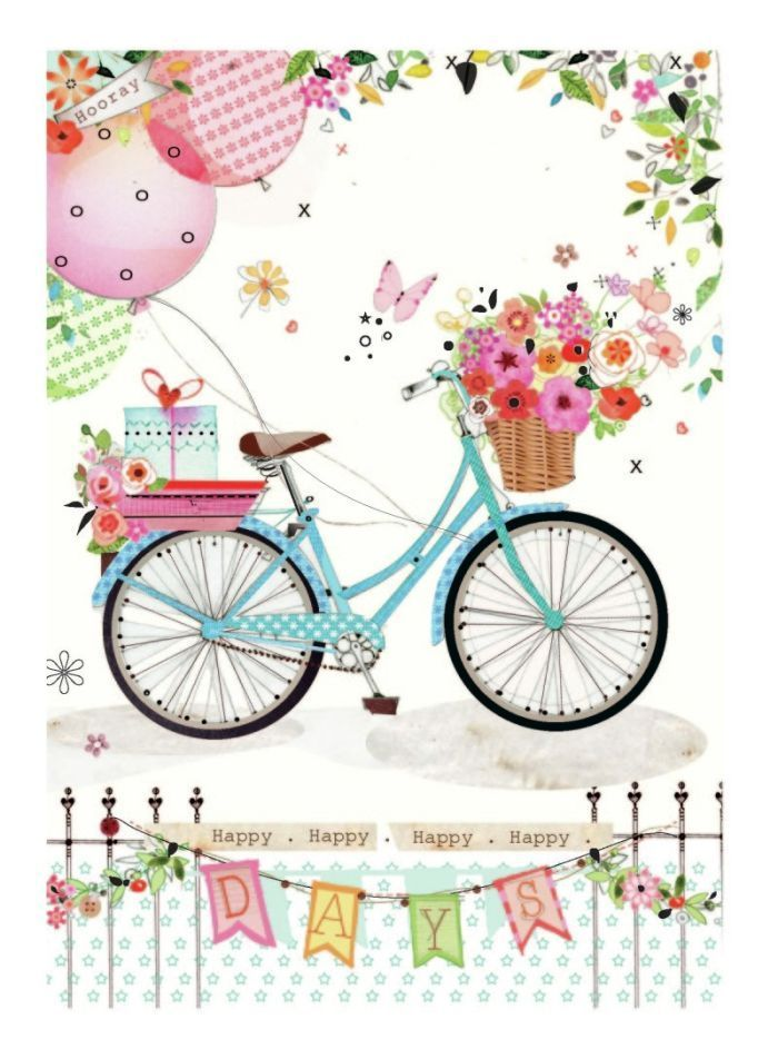 Happy Days by Lynn Horrabin  (700×952) birthday, transportation, bike, bicycle