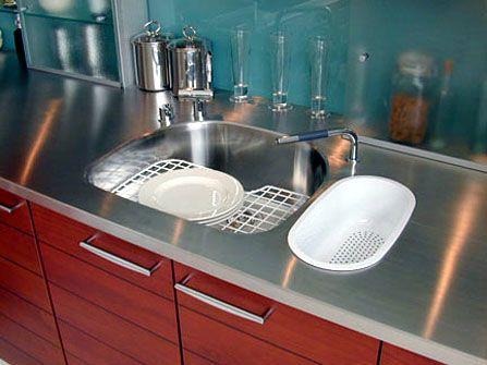 66 best kitchen stainless steel countertops sinks images for Stainless steel countertop with built in sink