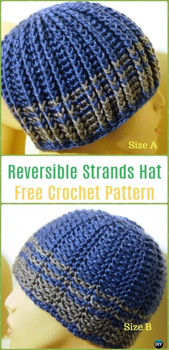 Crochet Reversible Strands for Men and Women Free Pattern - Crochet Beanie Hat Free Patterns