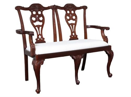 Chippendale 2 Seater Walnut Measurements 1300 x 530 x 102
