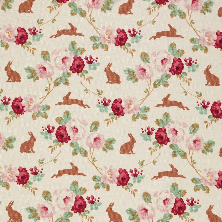 Tilda Cabbage Rose - Rabbit & Roses Linen £4 http://www.thehomemakery.co.uk/new-in/tilda-cabbage-rose-rabbit-roses-linen