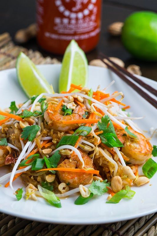 Spaghetti Squash Shrimp Pad Thai ~ make it GF by substituting GF soy sauce or coconut aminos for the regular soy sauce