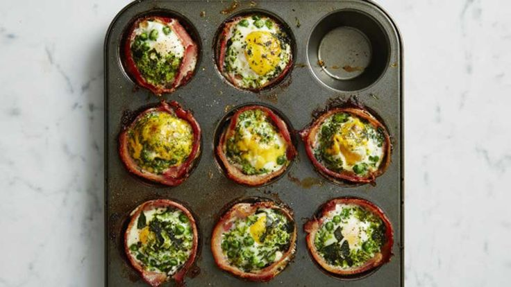 """This gorgeous recipe comes directly from the I Quit Sugar 8-Week Program Meal Plans to show you just how tasty it is to eat sugar-free. Filled with lots of greens, these gluten-free bacon and egg """"cupcakes"""" are perfect for breakfast or an energy-boosting snack on the go."""