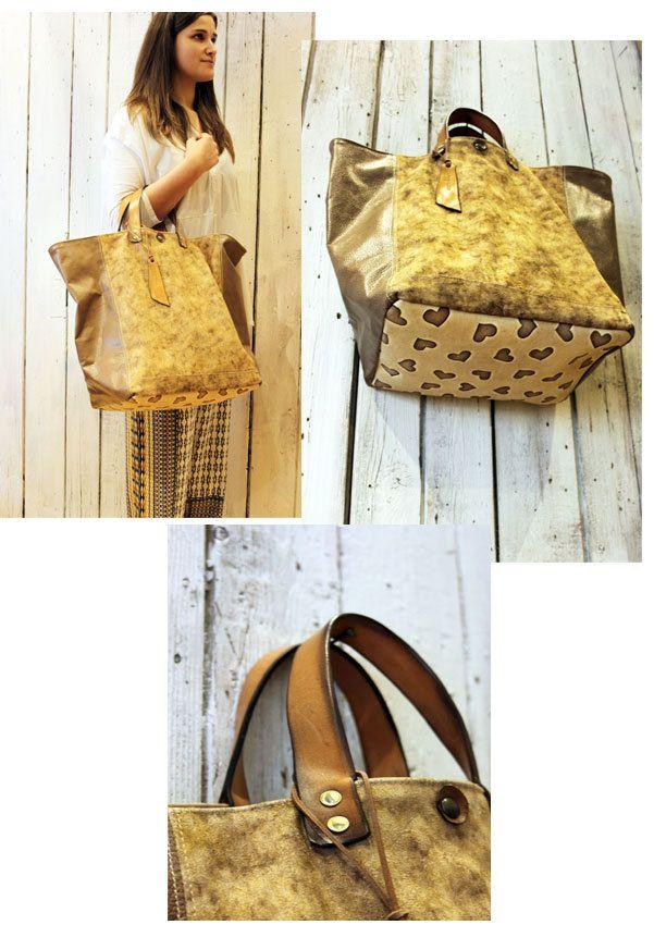 MY BAG LOVE  Handmade Italian Leather & Canvas Tote Handbag di LaSellerieLimited su Etsy