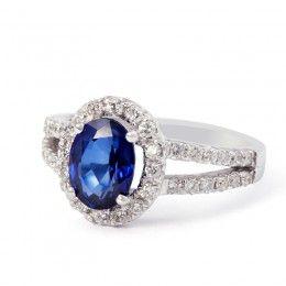 "18ct White Gold ""Diana"" Sapphire & Diamond Ring"