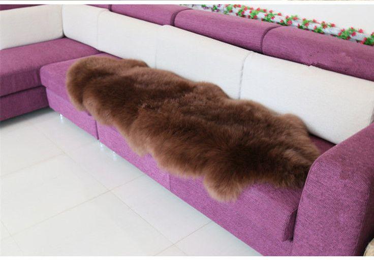 NEW Double Pelt Large Sheepskin rug Brown Soft Lambskin rug 6' x 2' Two Pelt rug #OEM #ShagFlokati