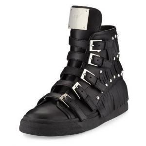53% off Giuseppe Zanotti - Sneakers Birel Studded Fringe High-Top Leather Nero - $489.30 #giuseppezanotti #sneakers