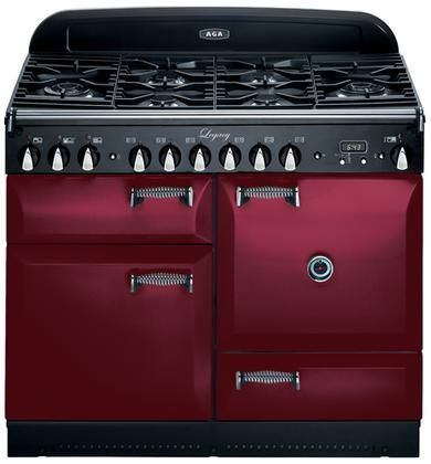 """ALEG44DFCRN Legacy Series 44"""" Freestanding Pro-Style Dual Fuel Range with 2.4 cu. ft. Convection Oven 7-Mode Multifunction Oven Broiling Oven Storage Drawer and Solid Doors in Cranberry"""