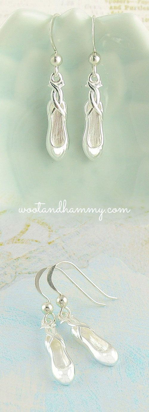 These pretty ballet slippers look like they just came of the feet of a tiny dancer. Dangle earrings in pure sterling silver.