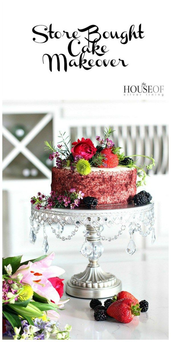 A simple DIY store bought cake makeover using flowers, berries and a pretty cake platter.