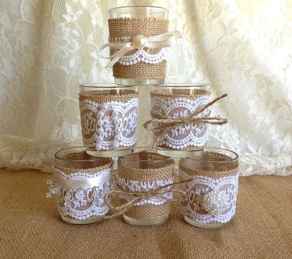 Burlap and lace 10 hour 6 tea candles wedding decor home for Lace home decor