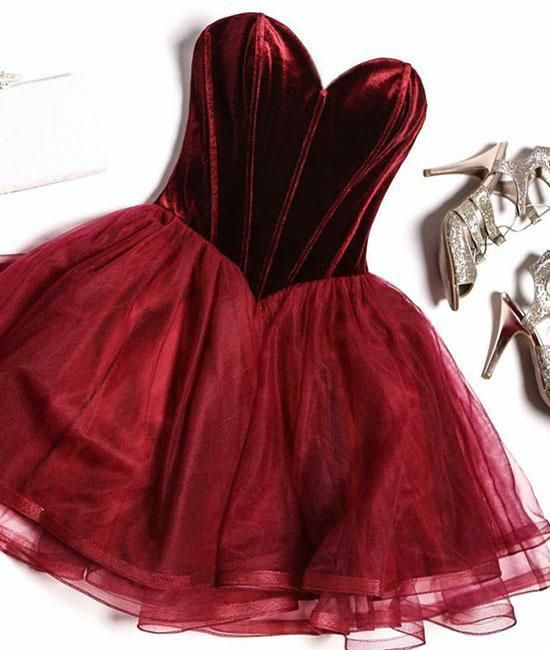 0e655730c92 A line sweetheart neck tulle short prom dress