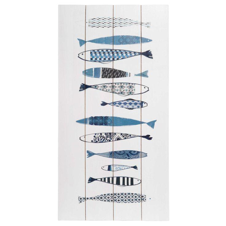 Imitatiehouten muurdecoratie met witte print 60 x 30 cm FISHES