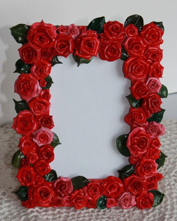 Red Rose Picture Frame, Polymer clay