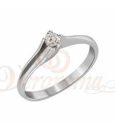 Μονόπετρo δαχτυλίδι Κ18 λευκόχρυσο με διαμάντι κοπής brilliant - MBR_013