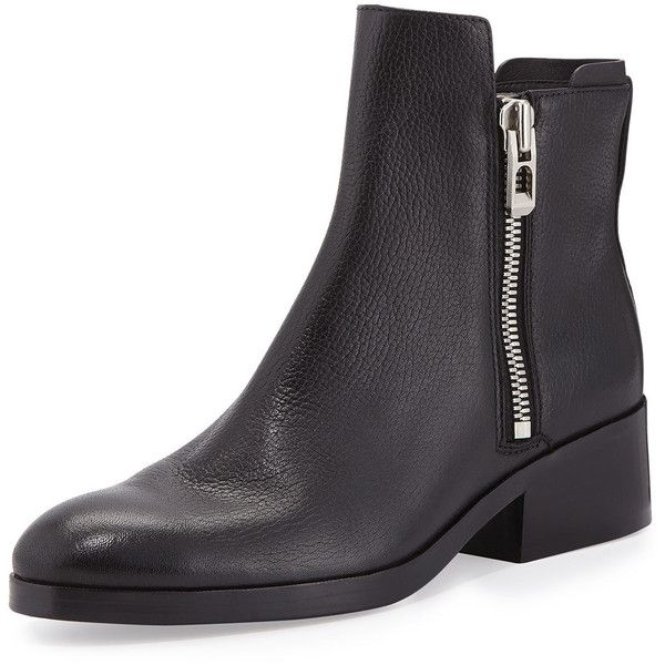 3.1 Phillip Lim Alexa Leather Ankle Boot ($560) ❤ liked on Polyvore featuring shoes, boots, ankle booties, ankle boots, black, short boots, leather booties, black bootie and black leather bootie