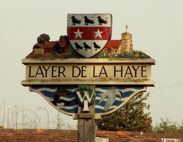 Layer de la Haye village sign, Essex by Robert Edwards, via Geograph