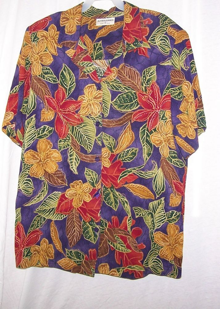 Woman's Career Blouse Purple Floral 12 Made in USA Alfred Dunner #AlfredDunner #Blouse #Career