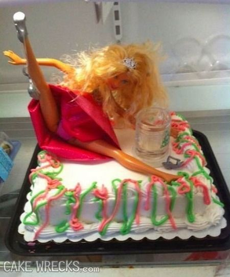 Drunk Barbie Birthday Cake. This would be hilarious for a 30th, 40th, or even 50th birthday party!!!!