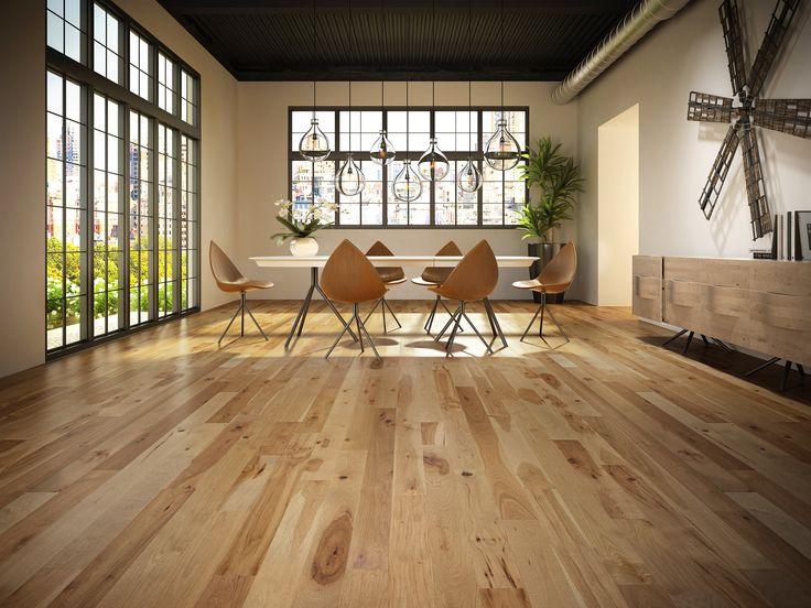 Hickory, Sandstone. Prefinished hardwood flooring Plancher de bois franc pré-verni