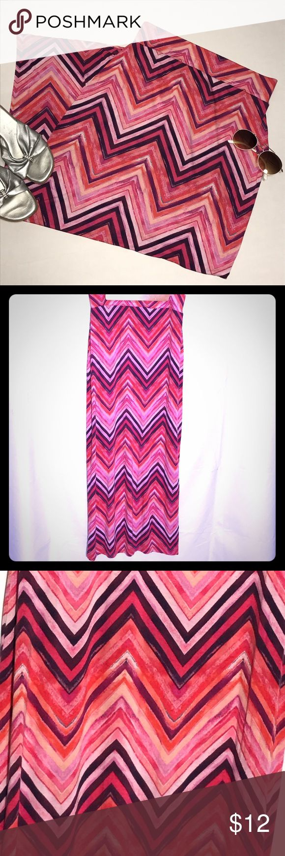 "a.n.a. Chevron Maxi Skirt Long Chevron Maxi Skirt with 16"" side slits. Nice wide waist and for comfort. See image above for other measurements. 95% Rayon, 5% Spandex a.n.a Skirts Maxi"
