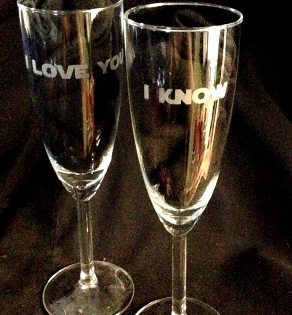 I love you i know custom etched champagne flutes set of 2 nerdy geeky wedding wedding glasses - Unusual champagne flutes ...