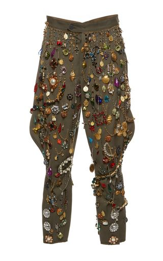 Rendered in cotton, this **Dolce & Gabbana** pant features a structured harlem styled silhouette, a cropped hemline, and an allover charm and jewel embellishment.