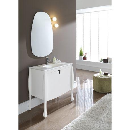 Meuble de salle de bain design original blanc  Site planetebain.com Ref:  611014