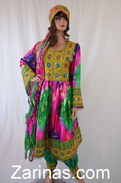 Rima Dress.  The Rima Afghan Dress is made from a beautiful silk material and comes with a gorgeous matching chiffon scarf. The embroidery is intricate and the mirrored decoration gives it a touch of elegance. Comes with matching green pants.