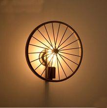 Industrail Vintage fer roue de bicyclette lampes pour mur intérieur mur luminaire pour salon salle à manger éclairage Edison ampoule(China (Mainland))