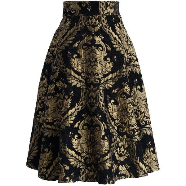 Chicwish Golden Bouquet Jacquard Midi Skirt ($51) ❤ liked on Polyvore featuring skirts, black, patterned midi skirt, floral knee length skirt, formal skirts, jacquard skirt and mid calf skirts