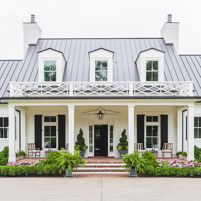 White Home Exterior Painted In Sherwin Williams Greek Villa Black Shutters And Front Door Paint Color Is Caviar
