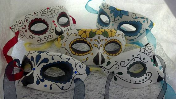 Custom Handpainted Day of the Dead Masks by EquinoxMasquerade