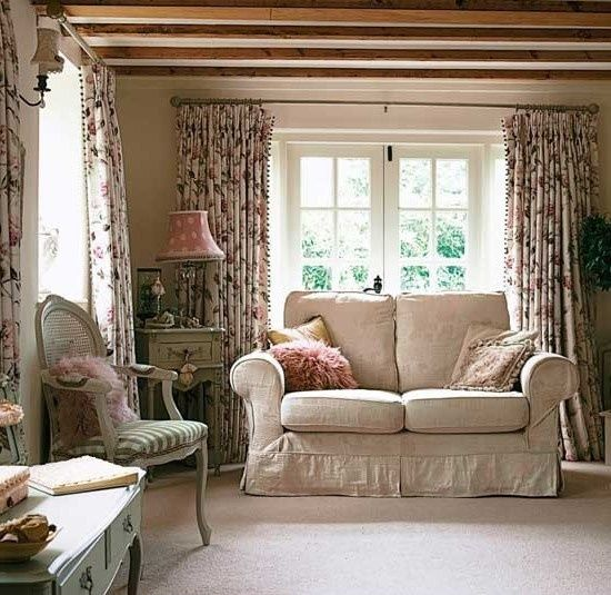 English Country Cottage Decor, cozy up with a lovely cuppa tea here in this sitting room, cottage style! Pass the biscuits,please!