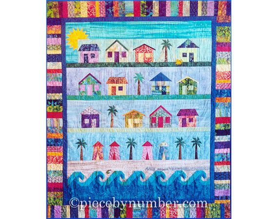 Beach Cottages Quilt paper piecing quilt patterns, beach quilt patterns, house quilt pattern, beach decor, instant download