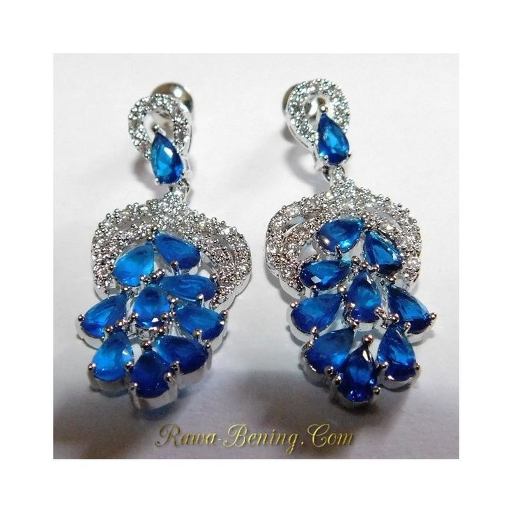 Diskon Anting Wanita Bridal Blue Pear Shape Gold Filled 18k