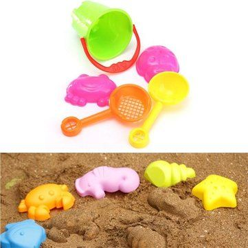#Banggood 5pcs мини летние океан песчаный пляж Дети приморских плавать ведро лопата лопатой инструменты грабли водные игрушки замок (992899) #SuperDeals