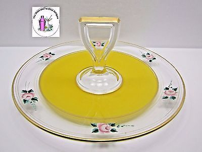Clear Glass Hand Painted Pink Flower Gold Trim Yellow Sandwich Tray