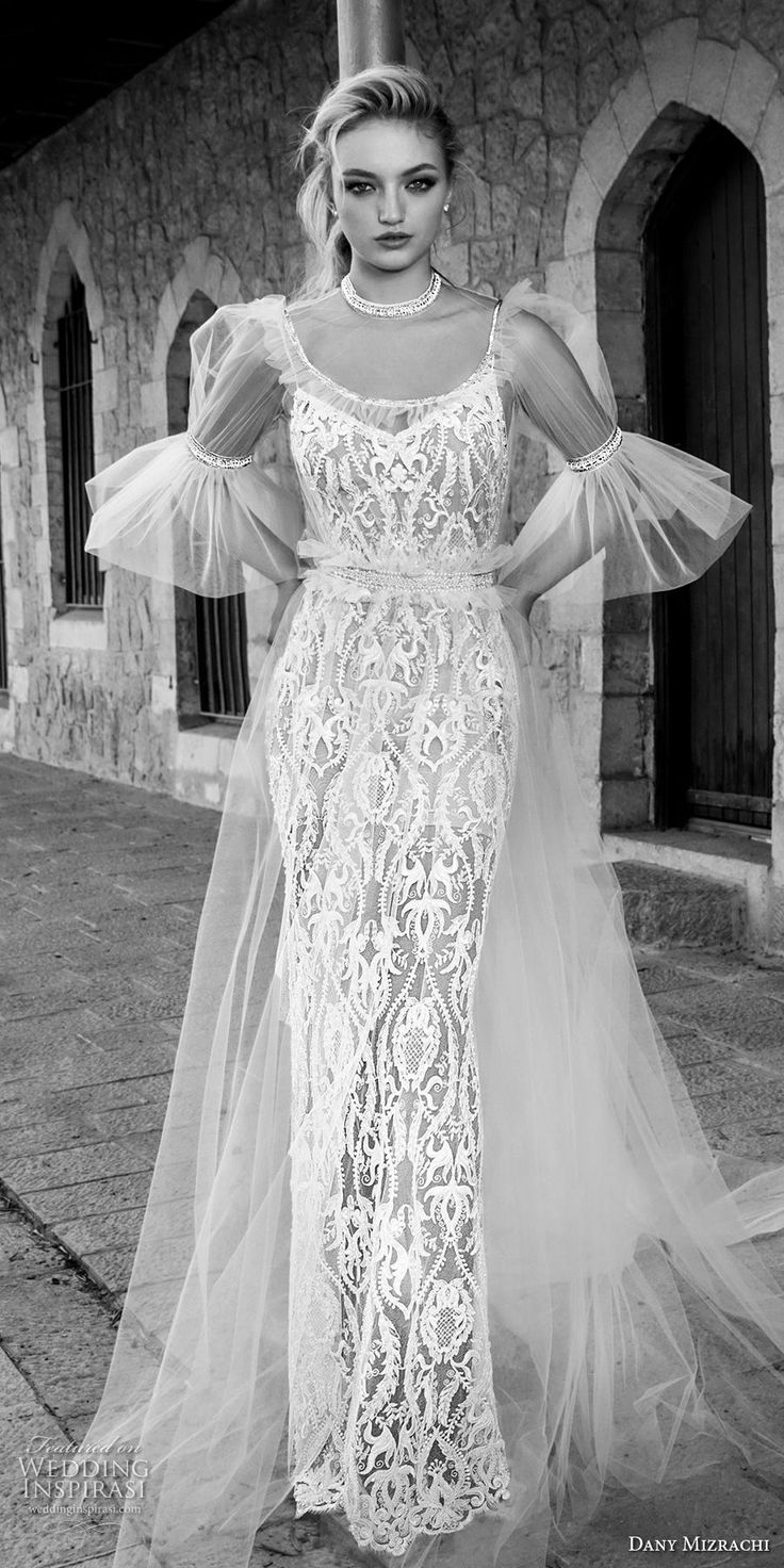 dany mizrachi spring 2018 bridal half lantern sleeves illusion jewel scoop neckline full embellishment elegant vintage sheath wedding dress chapel train (16) mv -- Dany Mizrachi Spring 2018 Wedding Dresses