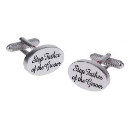 Step Father of the Groom Script Cufflinks - An oval cufflink with black script writing perfect for the Step Father of the Groom.