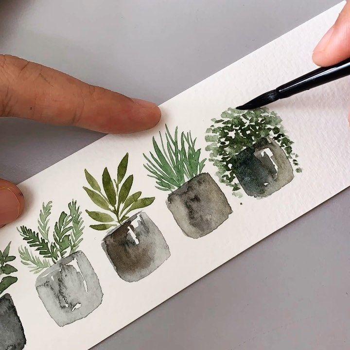 Tutorial : Potted plants. #artbyzafikha . : : Pain…