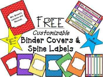 FREE EDITABLE Binder Covers and Spine Labels in 6 bright colors! Classroom Organization | Teacher Binders