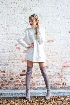 Best Online Stores to Shop Sweater Dresses | A La Gray; Sweater dresses and over the knee boots; red lips; braided hair; holiday outfits